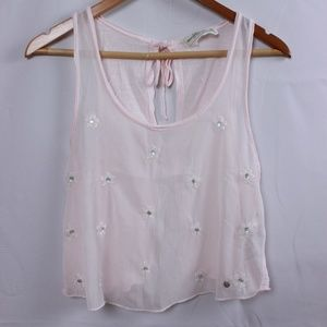 A&F EMBELLISHED CROP TOP WITH OPEN BACK